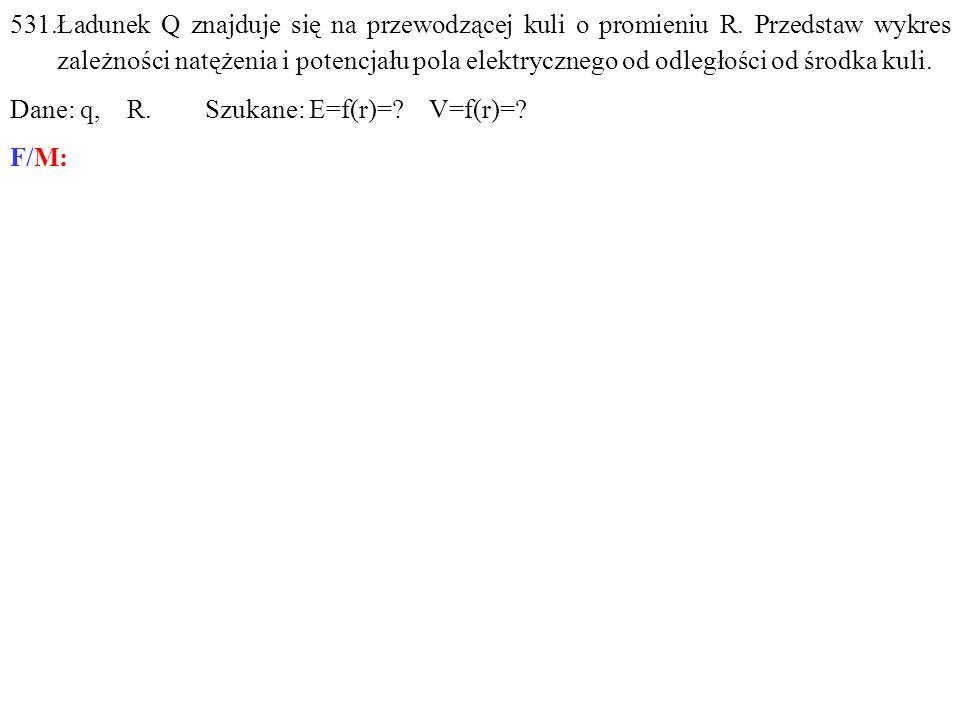 Dane: q, R. Szukane: E=f(r)= V=f(r)= F/M: