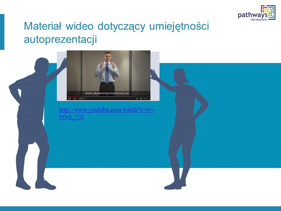 Materiał wideo dotyczący umiejętności autoprezentacji http://www.youtube.com/watch v=tv- 5O-6_73I