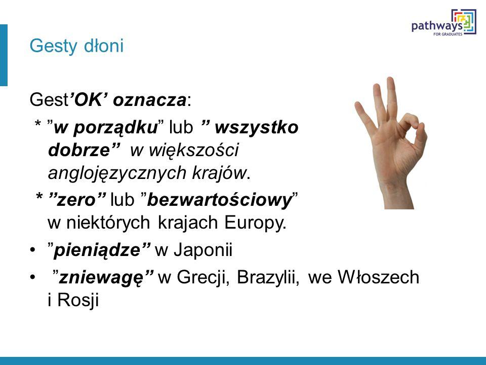 Gesty dłoni Gest'OK' oznacza: * w porządku lub wszystko dobrze w większości anglojęzycznych krajów.