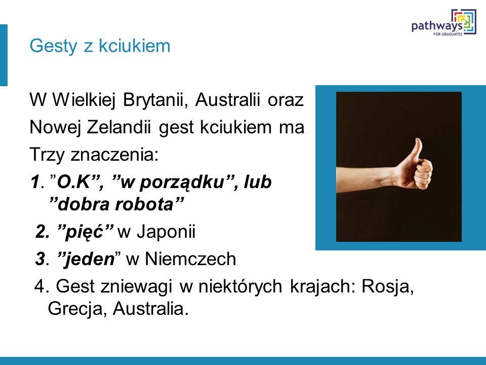 Gesty z kciukiem W Wielkiej Brytanii, Australii oraz Nowej Zelandii gest kciukiem ma Trzy znaczenia: 1.