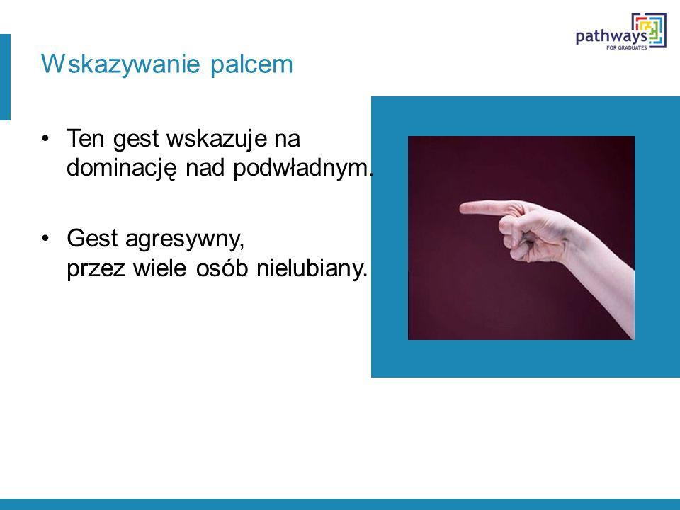 Wskazywanie palcem Ten gest wskazuje na dominację nad podwładnym.