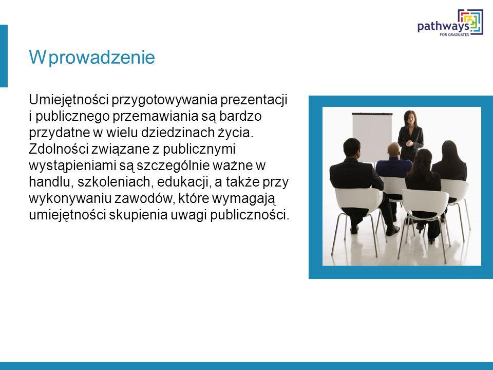 Wprowadzenie Umiejętności przygotowywania prezentacji i publicznego przemawiania są bardzo przydatne w wielu dziedzinach życia.