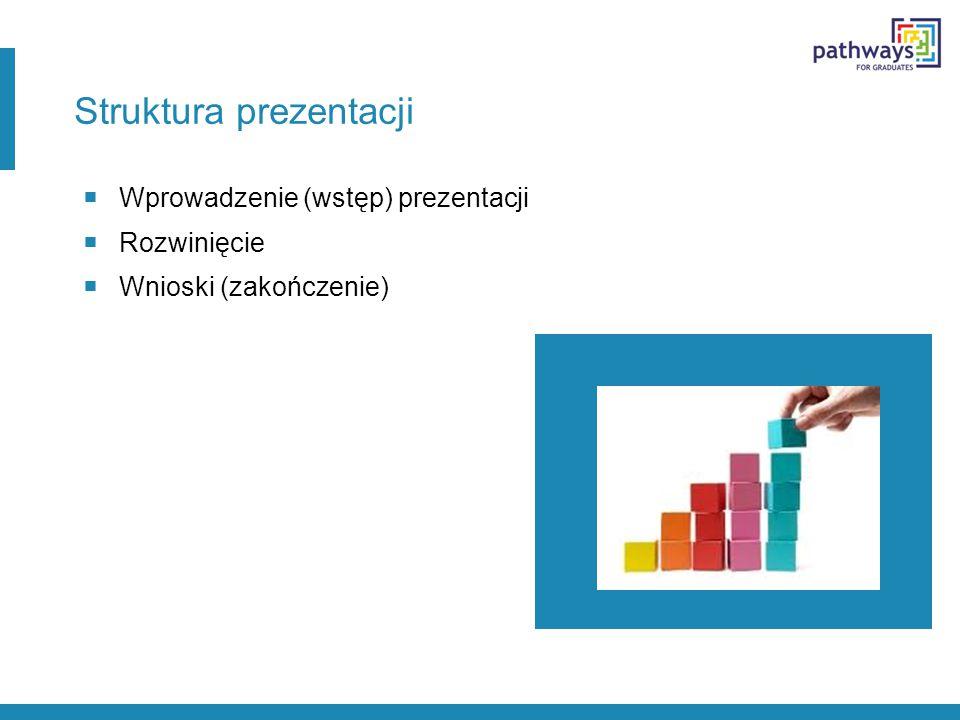 Struktura prezentacji  Wprowadzenie (wstęp) prezentacji  Rozwinięcie  Wnioski (zakończenie)