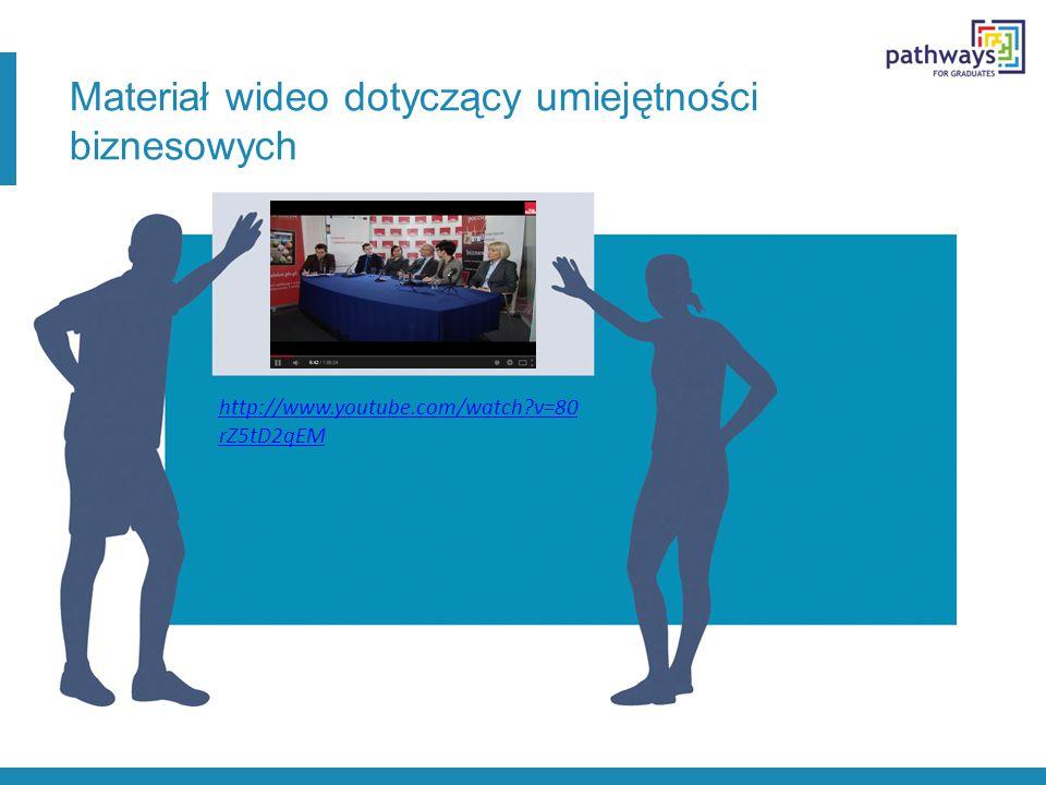 Materiał wideo dotyczący umiejętności biznesowych http://www.youtube.com/watch v=80 rZ5tD2qEM