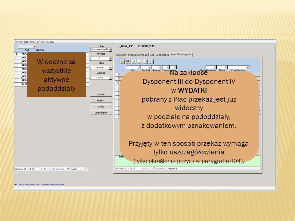 Na zakładce Dysponent III do Dysponent IV w WYDATKI pobrany z Płac przekaz jest już widoczny w podziale na pododdziały, z dodatkowym oznakowaniem. Prz