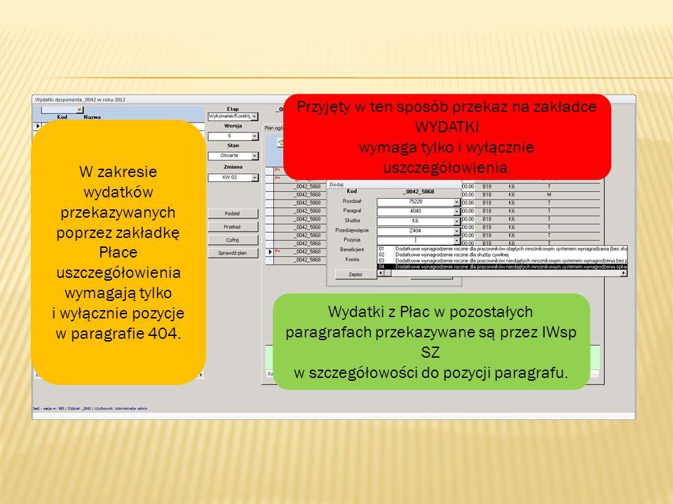 Z401 / Z402 Z401 L / Z402 L Z403Z404 75201, 75202, 75203, 75213, 75220, 75295, 75503, 75506, 85195 4010 (03, 04, 05, 06, 08, 09, 10) 4020 (01, 02, 03, 05) 4030 (00), 4040 (02, 03, 04) Kwota wniosku Numer dysponenta środków budżetu państwa trzeciego stopnia Oznaczenie beneficjenta wydatków, na rzecz którego realizowane są wydatki budżetowe: B01, B02, B03, B07, B18, B00 Wydatki w zakresie funduszu wynagrodzeń osobowych realizowane są w służbie: K6 P – inne niż KN i KSC KN – Karta Nauczyciela KSC – Korpus Służby Cywilnej fundusz osobowy - § 4010 poz 03, 05, 08, 09 oraz § 4020 poz.