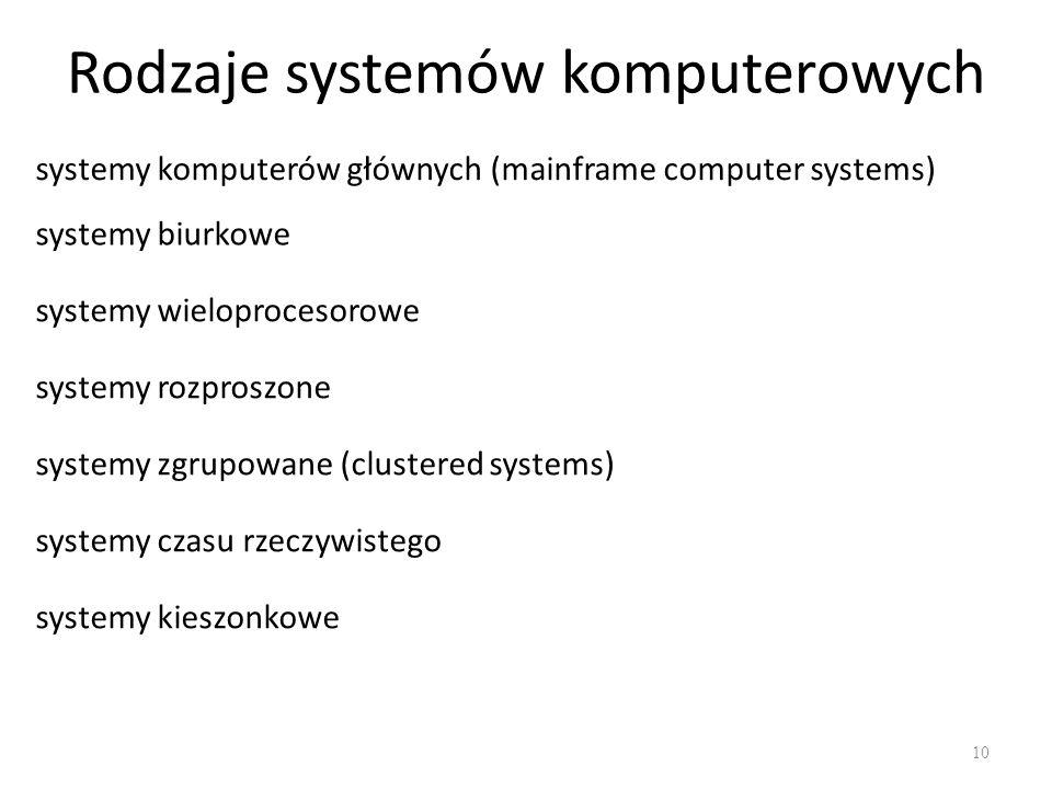 Rodzaje systemów komputerowych 10 systemy komputerów głównych (mainframe computer systems) systemy biurkowe systemy wieloprocesorowe systemy rozproszo