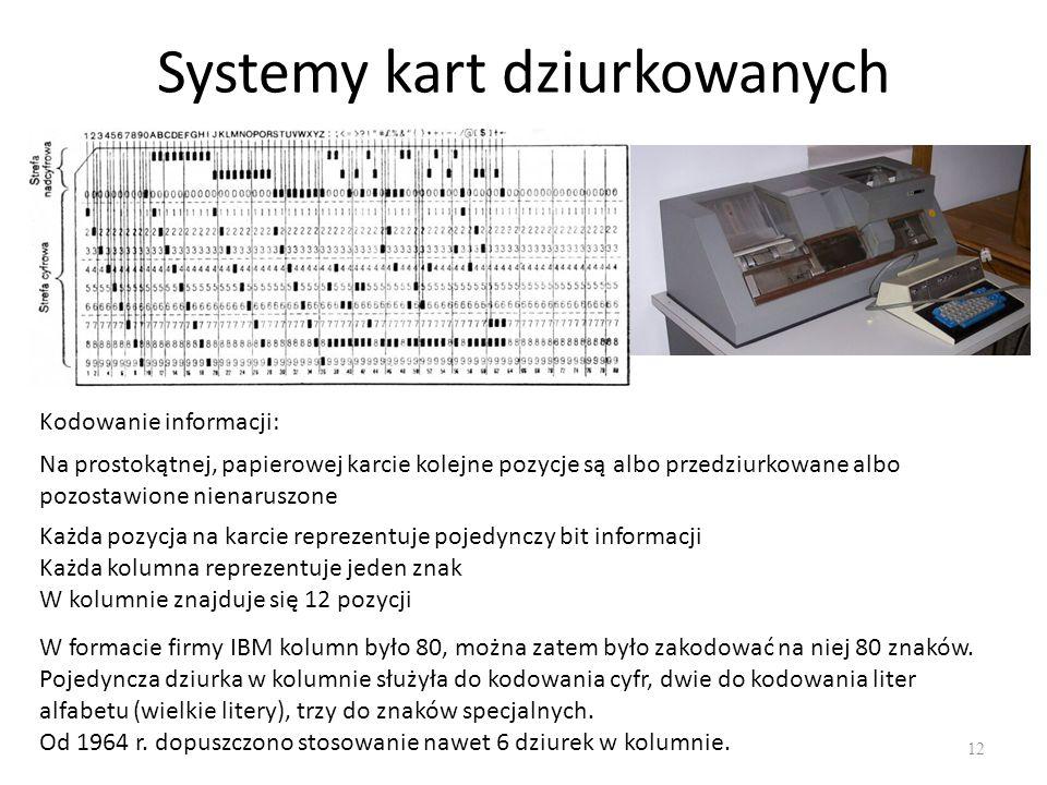 Systemy kart dziurkowanych 12 Kodowanie informacji: Na prostokątnej, papierowej karcie kolejne pozycje są albo przedziurkowane albo pozostawione niena