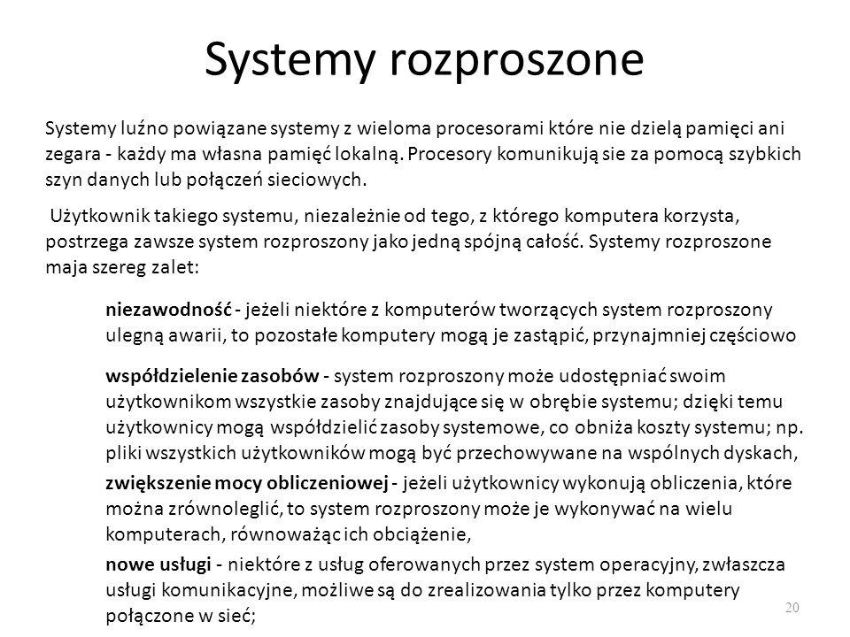 Systemy rozproszone 20 Systemy luźno powiązane systemy z wieloma procesorami które nie dzielą pamięci ani zegara - każdy ma własna pamięć lokalną. Pro
