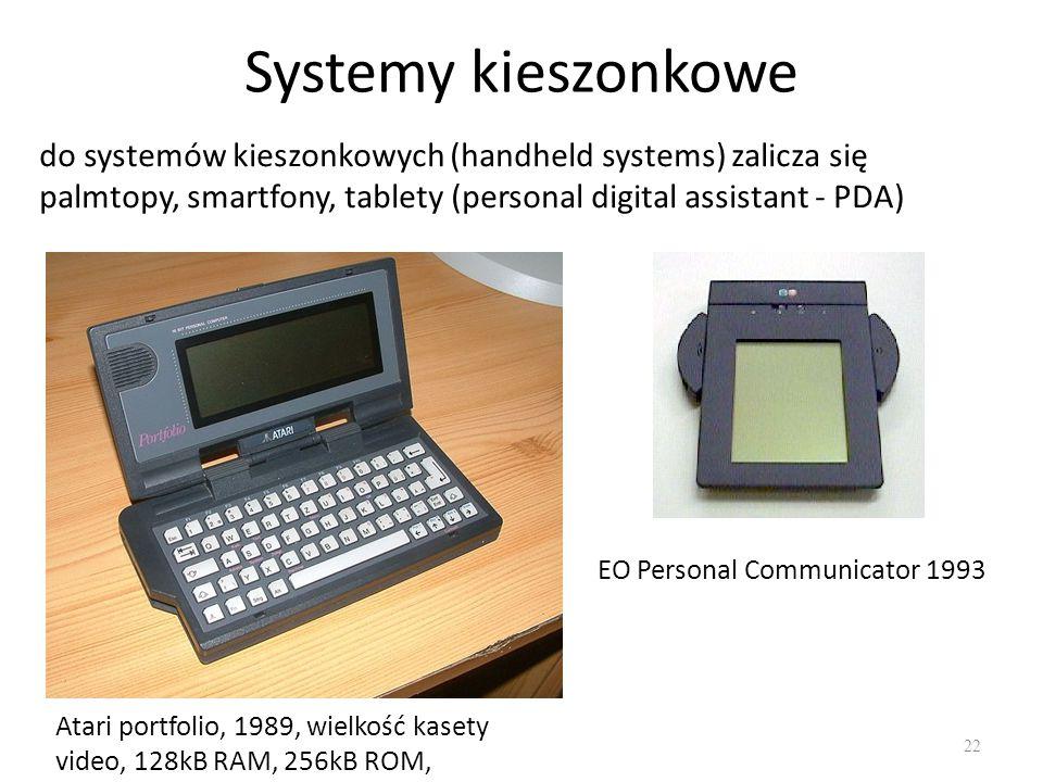 Systemy kieszonkowe 22 do systemów kieszonkowych (handheld systems) zalicza się palmtopy, smartfony, tablety (personal digital assistant - PDA) Atari