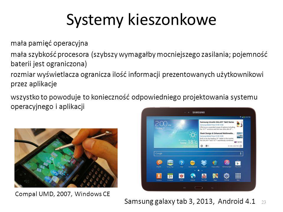 Systemy kieszonkowe 23 mała pamięć operacyjna Compal UMD, 2007, Windows CE Samsung galaxy tab 3, 2013, Android 4.1 mała szybkość procesora (szybszy wy