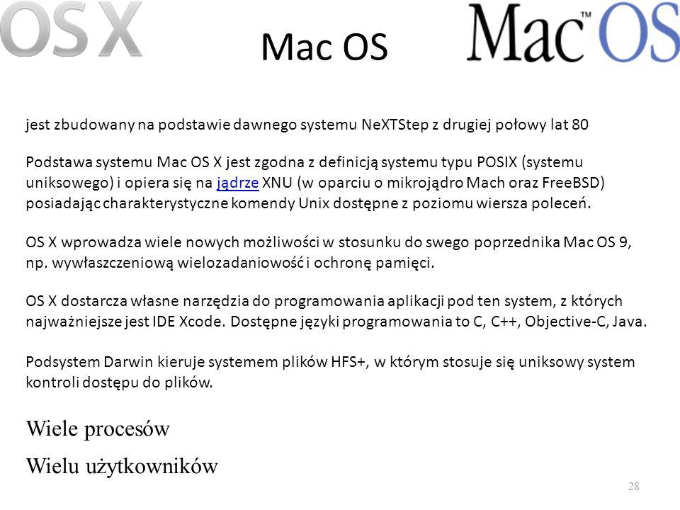 Mac OS 28 jest zbudowany na podstawie dawnego systemu NeXTStep z drugiej połowy lat 80 Podstawa systemu Mac OS X jest zgodna z definicją systemu typu
