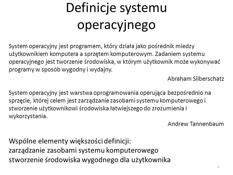 Definicje systemu operacyjnego System operacyjny jest programem, który działa jako pośrednik miedzy użytkownikiem komputera a sprzętem komputerowym. Z