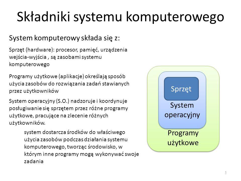 Programy użytkowe System operacyjny System operacyjny Składniki systemu komputerowego 5 System komputerowy składa się z: Sprzęt (hardware): procesor,
