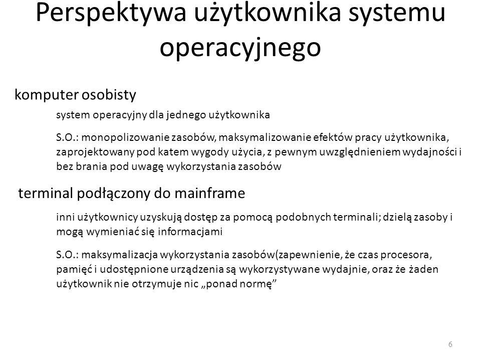 Perspektywa użytkownika systemu operacyjnego 6 komputer osobisty system operacyjny dla jednego użytkownika S.O.: monopolizowanie zasobów, maksymalizow