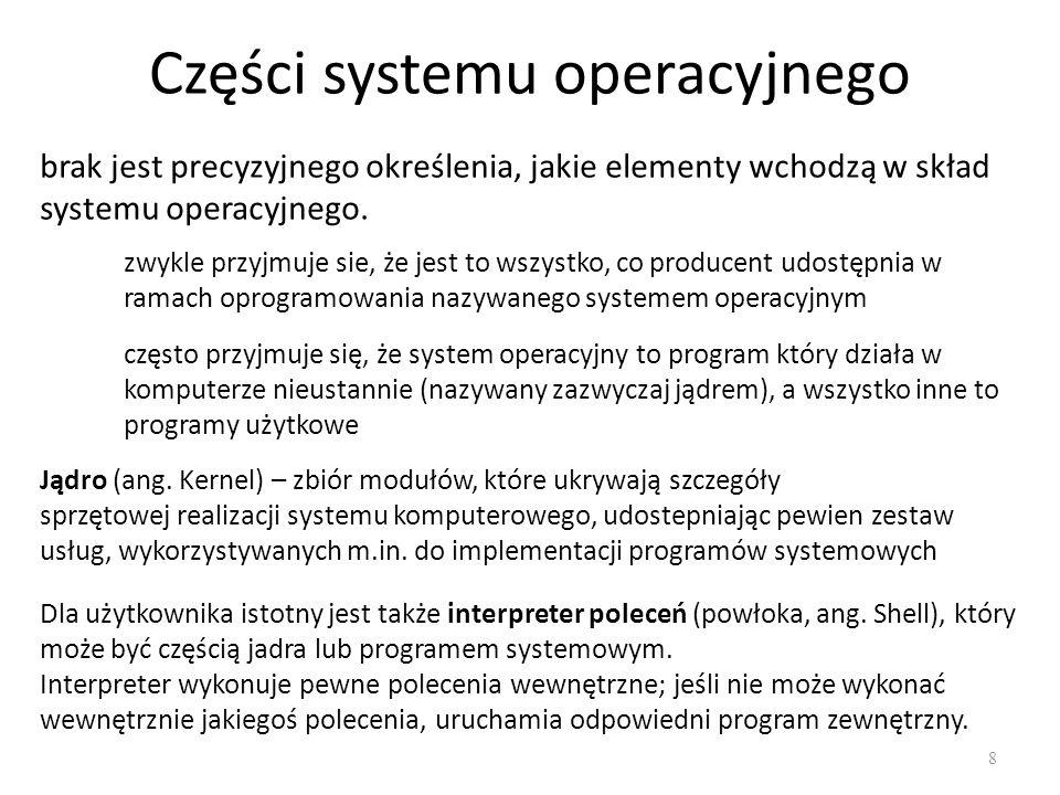 Części systemu operacyjnego 8 brak jest precyzyjnego określenia, jakie elementy wchodzą w skład systemu operacyjnego. zwykle przyjmuje sie, że jest to