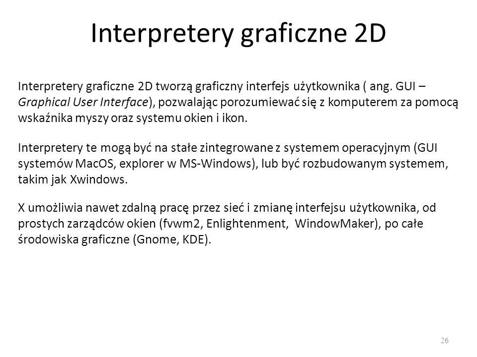 Interpretery graficzne 2D 26 Interpretery graficzne 2D tworzą graficzny interfejs użytkownika ( ang. GUI – Graphical User Interface), pozwalając poroz