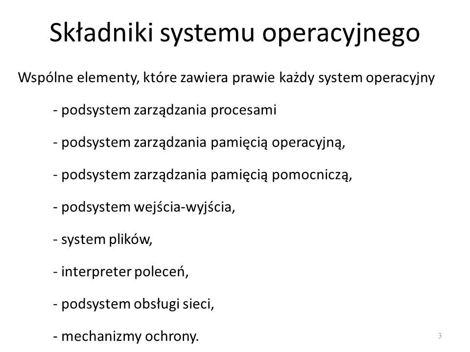 Składniki systemu operacyjnego 3 Wspólne elementy, które zawiera prawie każdy system operacyjny - podsystem zarządzania procesami - podsystem zarządza