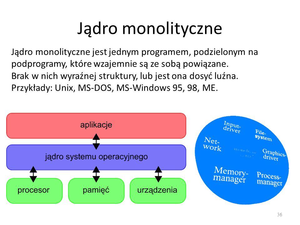 Jądro monolityczne 36 Jądro monolityczne jest jednym programem, podzielonym na podprogramy, które wzajemnie są ze sobą powiązane. Brak w nich wyraźnej