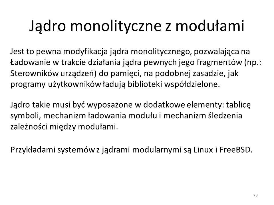 Jądro monolityczne z modułami 39 Jest to pewna modyfikacja jądra monolitycznego, pozwalająca na Ładowanie w trakcie działania jądra pewnych jego fragm