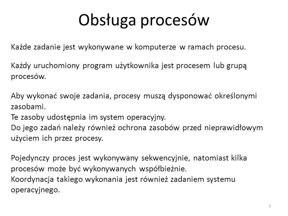Obsługa procesów 5 Czynności, które system operacyjny wykonuje zarządzając procesami: tworzenie i usuwanie procesów użytkowników i systemowych, wstrzymywanie i wznawianie wykonania procesów, zapewnianie możliwości synchronizacji procesów, zapewnianie środków komunikacji miedzy procesami, zapewnienie mechanizmów obsługi zakleszczeń