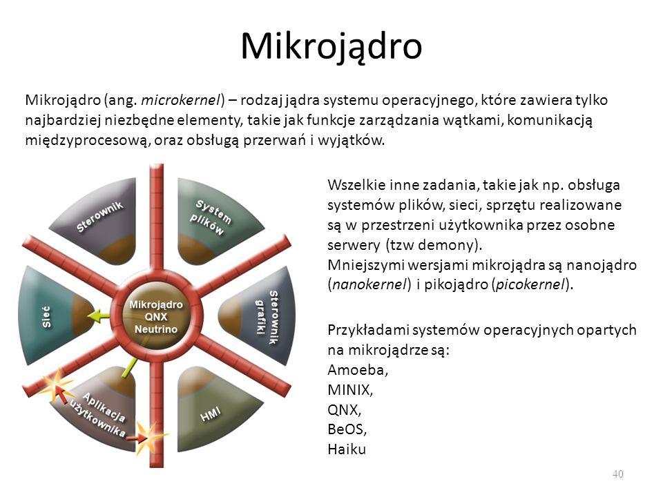 Mikrojądro 40 Mikrojądro (ang. microkernel) – rodzaj jądra systemu operacyjnego, które zawiera tylko najbardziej niezbędne elementy, takie jak funkcje