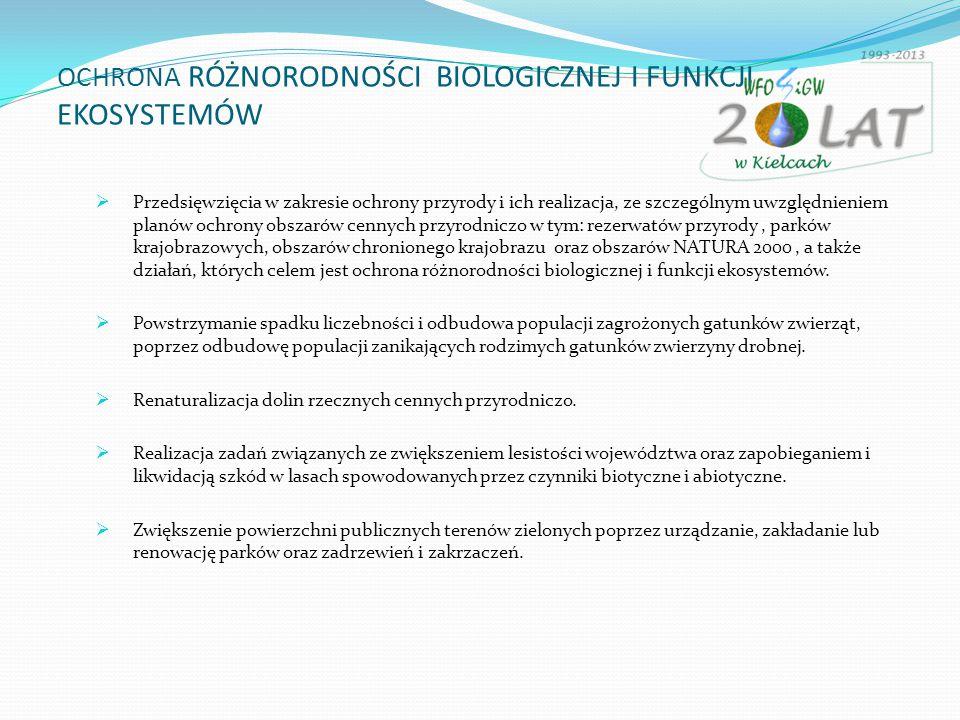 OCHRONA RÓŻNORODNOŚCI BIOLOGICZNEJ I FUNKCJI EKOSYSTEMÓW  Przedsięwzięcia w zakresie ochrony przyrody i ich realizacja, ze szczególnym uwzględnieniem planów ochrony obszarów cennych przyrodniczo w tym: rezerwatów przyrody, parków krajobrazowych, obszarów chronionego krajobrazu oraz obszarów NATURA 2000, a także działań, których celem jest ochrona różnorodności biologicznej i funkcji ekosystemów.
