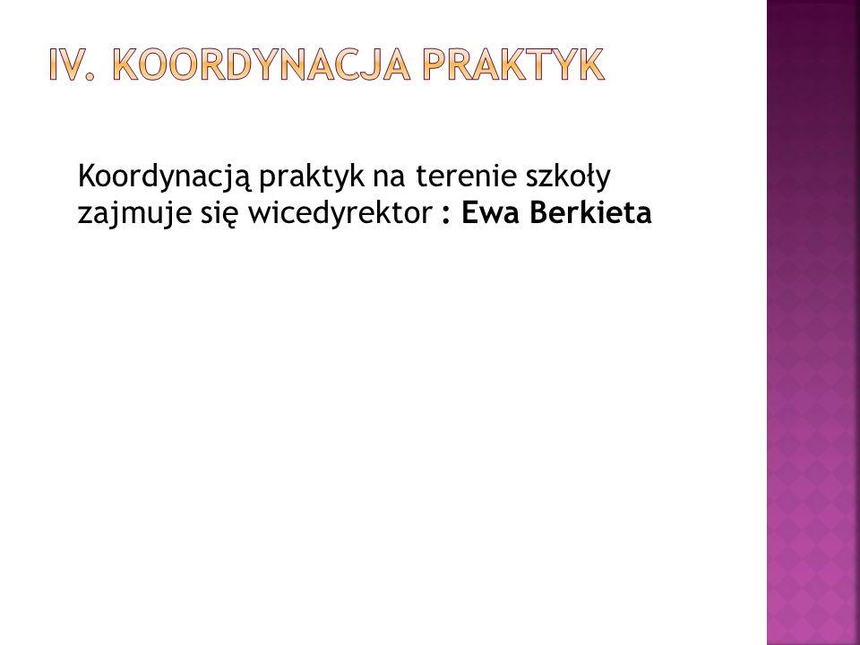 Koordynacją praktyk na terenie szkoły zajmuje się wicedyrektor : Ewa Berkieta