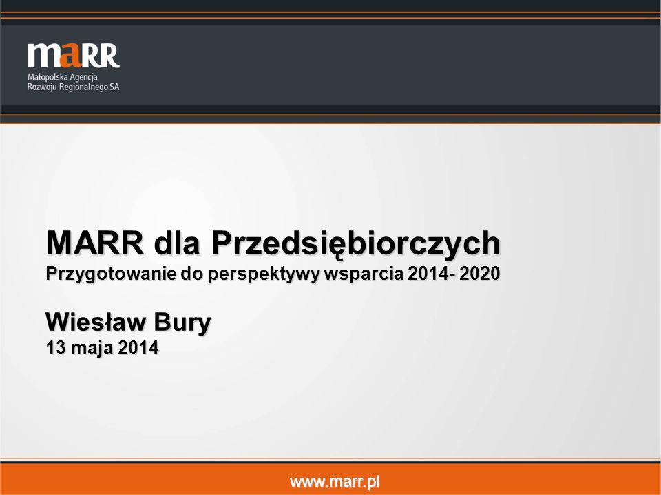 www.marr.pl MARR dla Przedsiębiorczych Przygotowanie do perspektywy wsparcia 2014- 2020 Wiesław Bury 13 maja 2014