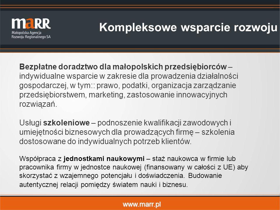 www.marr.pl Bezpłatne doradztwo dla małopolskich przedsiębiorców – indywidualne wsparcie w zakresie dla prowadzenia działalności gospodarczej, w tym:: prawo, podatki, organizacja zarządzanie przedsiębiorstwem, marketing, zastosowanie innowacyjnych rozwiązań.