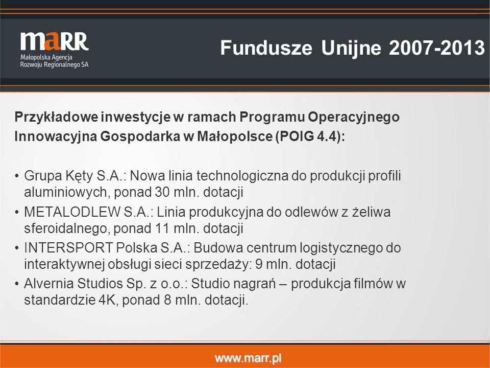 www.marr.pl Fundusze Unijne 2007-2013 Przykładowe inwestycje w ramach Programu Operacyjnego Innowacyjna Gospodarka w Małopolsce (POIG 4.4): Grupa Kęty S.A.: Nowa linia technologiczna do produkcji profili aluminiowych, ponad 30 mln.