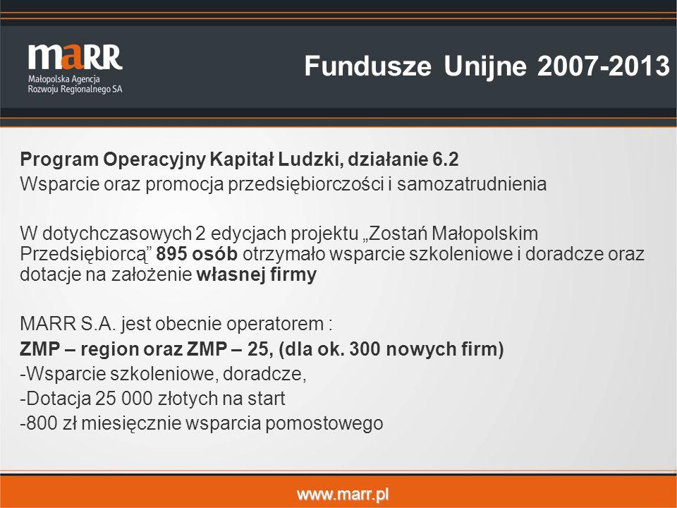 """www.marr.pl Fundusze Unijne 2007-2013 Program Operacyjny Kapitał Ludzki, działanie 6.2 Wsparcie oraz promocja przedsiębiorczości i samozatrudnienia W dotychczasowych 2 edycjach projektu """"Zostań Małopolskim Przedsiębiorcą 895 osób otrzymało wsparcie szkoleniowe i doradcze oraz dotacje na założenie własnej firmy MARR S.A."""