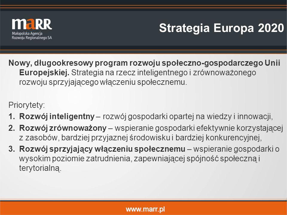 www.marr.pl Strategia Europa 2020 Nowy, długookresowy program rozwoju społeczno-gospodarczego Unii Europejskiej.