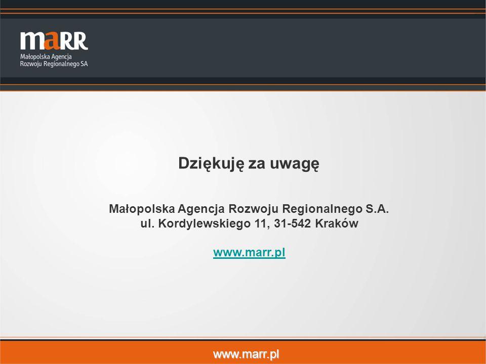www.marr.pl Dziękuję za uwagę Małopolska Agencja Rozwoju Regionalnego S.A.