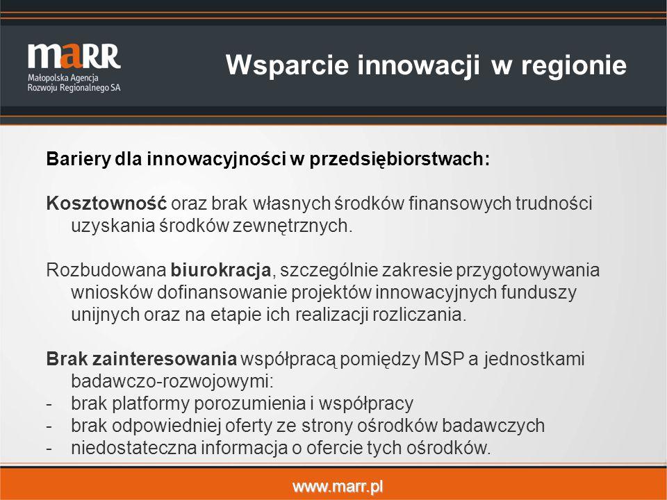 www.marr.pl Bariery dla innowacyjności w przedsiębiorstwach: Kosztowność oraz brak własnych środków finansowych trudności uzyskania środków zewnętrznych.