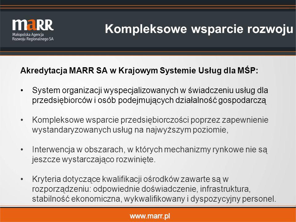 www.marr.pl Akredytacja MARR SA w Krajowym Systemie Usług dla MŚP: System organizacji wyspecjalizowanych w świadczeniu usług dla przedsiębiorców i osób podejmujących działalność gospodarczą Kompleksowe wsparcie przedsiębiorczości poprzez zapewnienie wystandaryzowanych usług na najwyższym poziomie, Interwencja w obszarach, w których mechanizmy rynkowe nie są jeszcze wystarczająco rozwinięte.