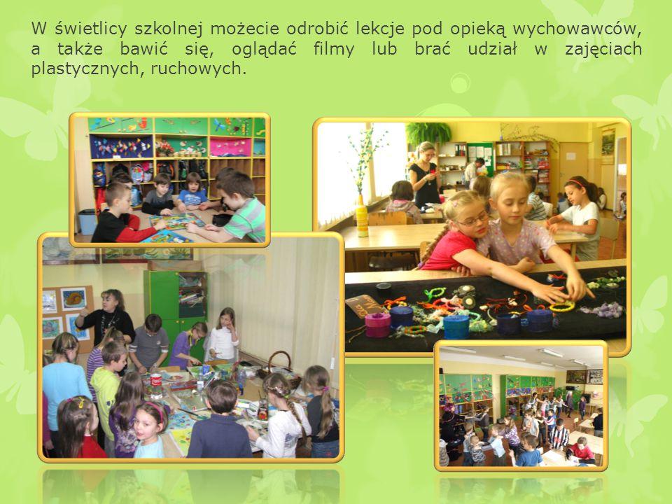 Po zajęciach lekcyjnych możecie skorzystać z wielu ciekawych zajęć prowadzonych przez nas. Są to zajęcia komputerowe, plastyczne, językowe, dziennikar