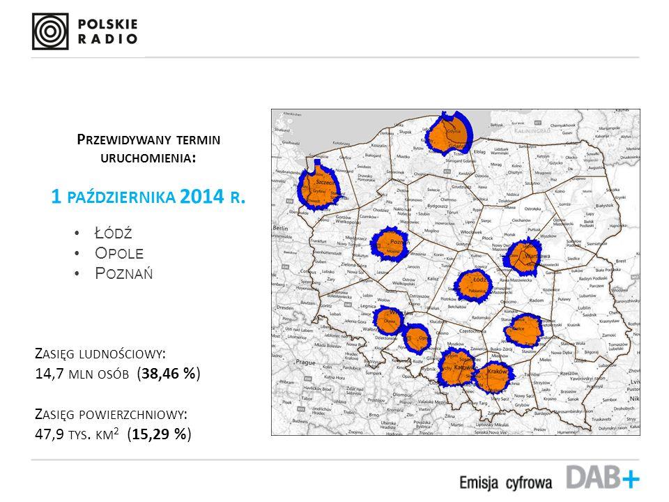 Przybliżony zasięg mobilny emisji DAB+ P RZEWIDYWANY TERMIN URUCHOMIENIA : 1 PAŹDZIERNIKA 2014 R.
