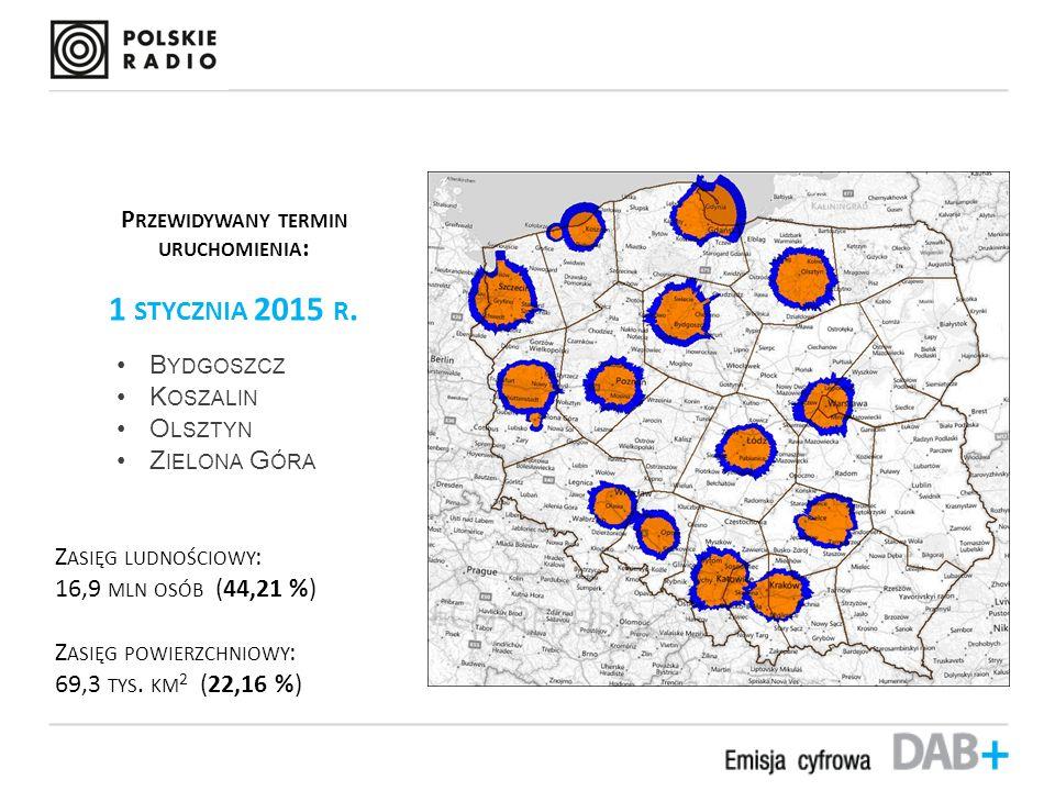 Przybliżony zasięg mobilny emisji DAB+ P RZEWIDYWANY TERMIN URUCHOMIENIA : 1 STYCZNIA 2015 R.