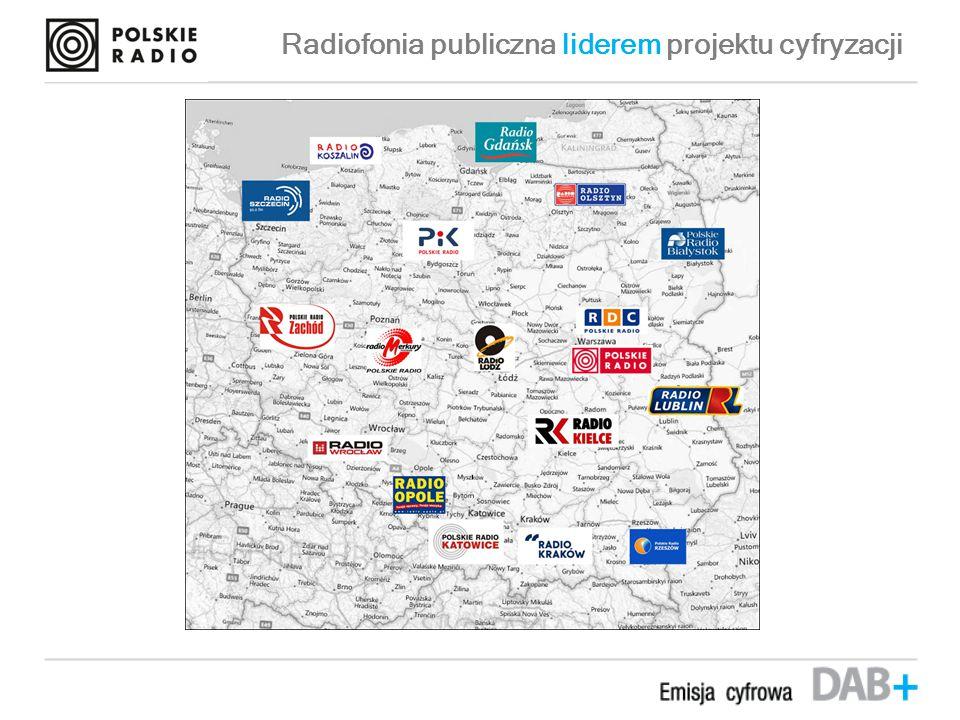 Przybliżony zasięg mobilny emisji DAB+ U RUCHOMIONO STAŁĄ EMISJĘ DAB + 1 PAŹDZIERNIKA 2013 R.