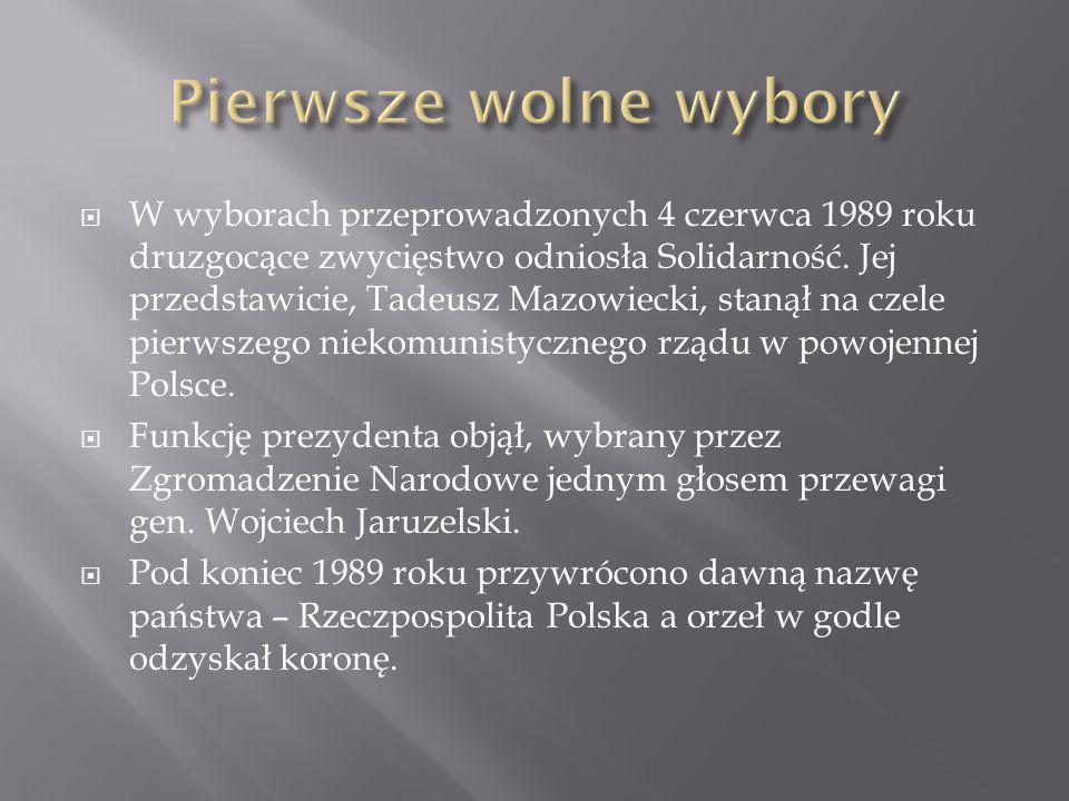  W wyborach przeprowadzonych 4 czerwca 1989 roku druzgocące zwycięstwo odniosła Solidarność. Jej przedstawicie, Tadeusz Mazowiecki, stanął na czele p