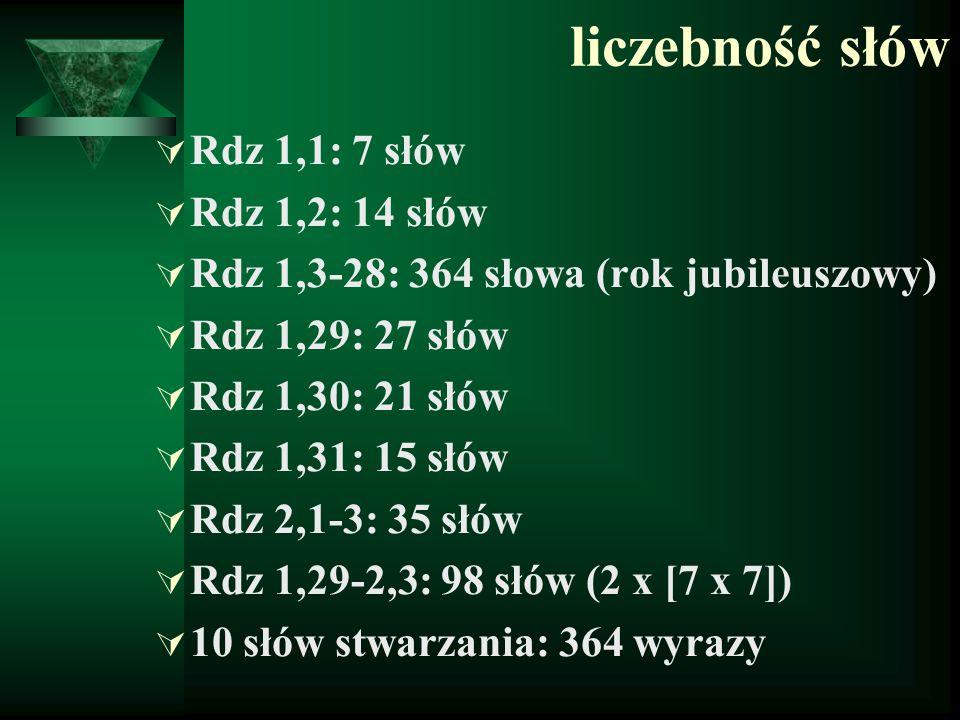 liczebność słów  Rdz 1,1: 7 słów  Rdz 1,2: 14 słów  Rdz 1,3-28: 364 słowa (rok jubileuszowy)  Rdz 1,29: 27 słów  Rdz 1,30: 21 słów  Rdz 1,31: 15