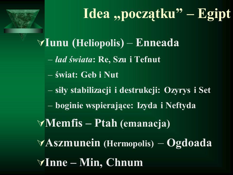 """Idea """"początku"""" – Egipt  Iunu ( Heliopolis ) – Enneada –ład świata: Re, Szu i Tefnut –świat: Geb i Nut –siły stabilizacji i destrukcji: Ozyrys i Set"""