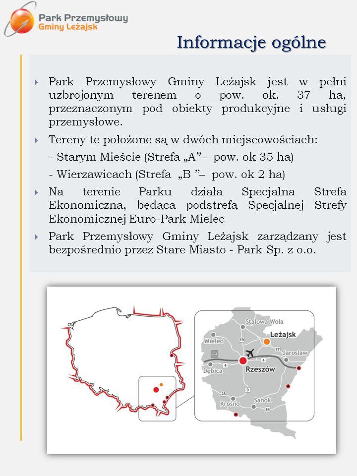 Informacje ogólne  Park Przemysłowy Gminy Leżajsk jest w pełni uzbrojonym terenem o pow. ok. 37 ha, przeznaczonym pod obiekty produkcyjne i usługi pr