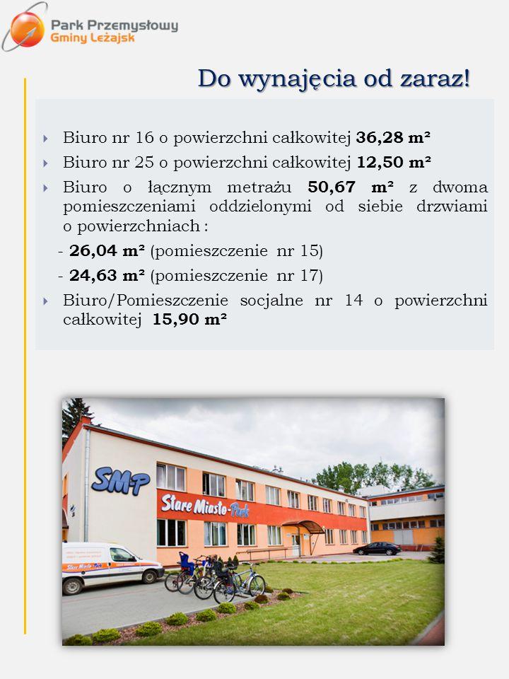 Do wynajęcia od zaraz!  Biuro nr 16 o powierzchni całkowitej 36,28 m²  Biuro nr 25 o powierzchni całkowitej 12,50 m²  Biuro o łącznym metrażu 50,67
