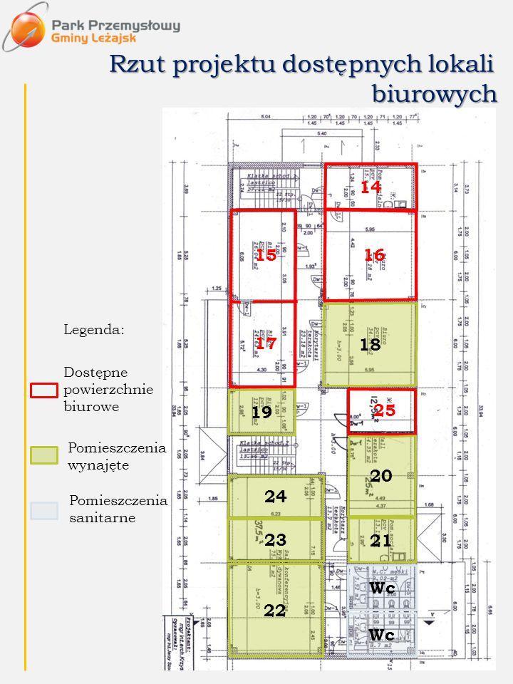 Dostępne powierzchnie biurowe Legenda: Rzut projektu dostępnych lokali biurowych 14 1615 17 25 18 19 20 21 24 23 22 Pomieszczenia wynajęte Wc Pomieszc