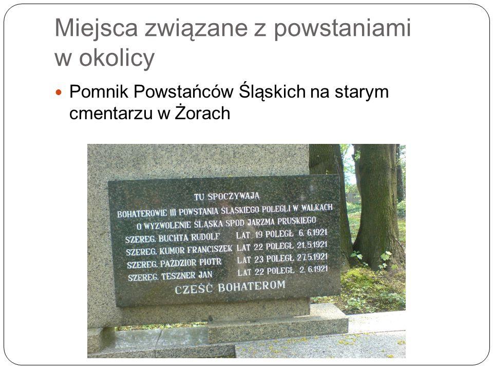 Miejsca związane z powstaniami w okolicy Pomnik Powstańców Śląskich na starym cmentarzu w Żorach