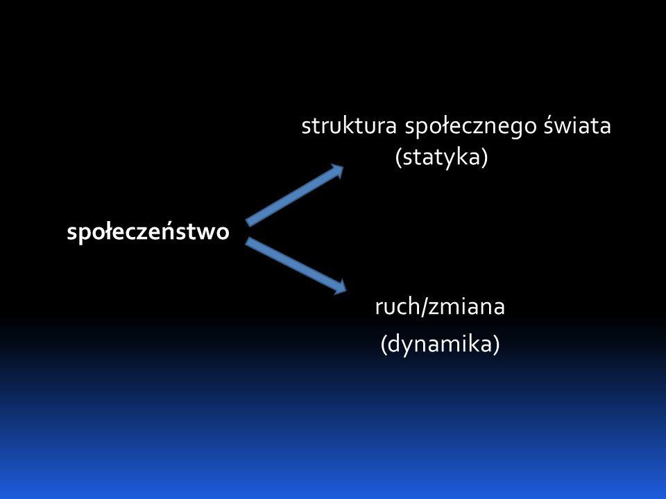 struktura społecznego świata (statyka) społeczeństwo ruch/zmiana (dynamika)