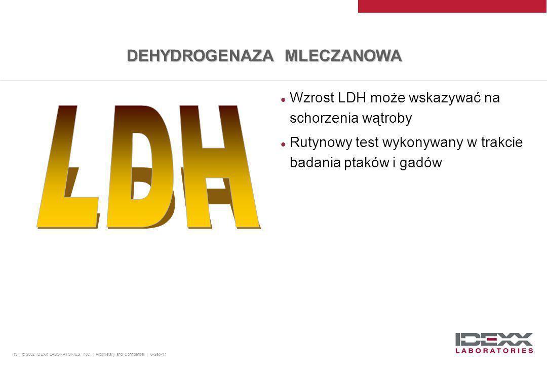 13 © 2002 IDEXX LABORATORIES, INC. | Proprietary and Confidential | 8-Sep-14 Wzrost LDH może wskazywać na schorzenia wątroby Rutynowy test wykonywany