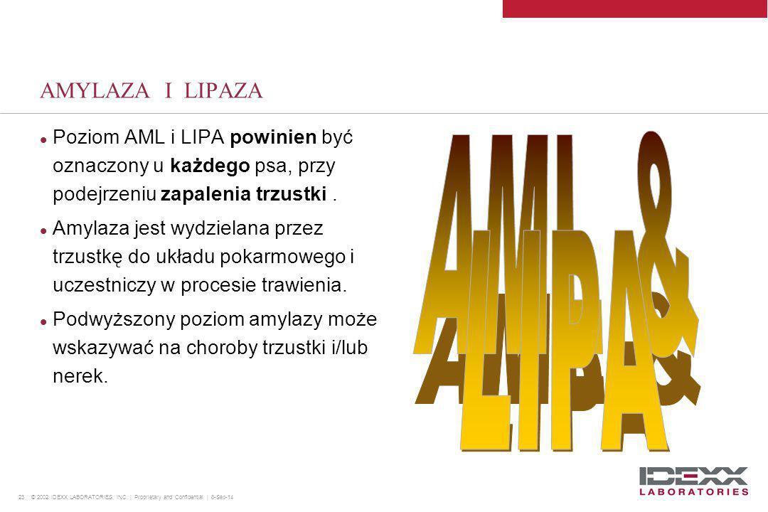 23 © 2002 IDEXX LABORATORIES, INC. | Proprietary and Confidential | 8-Sep-14 AMYLAZA I LIPAZA Poziom AML i LIPA powinien być oznaczony u każdego psa,
